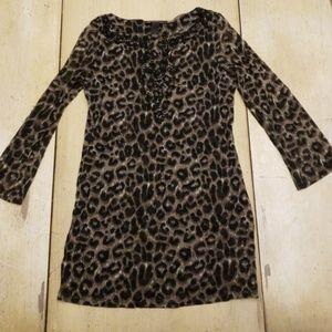 Cheetah print rhinestone tunic